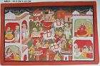 VINTAGE BEAUTIFUL RELIGIOUS MINIATURE OF KRISHNA GROUP PAINTING COLLECTIBLE IND
