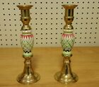 Multicolored Porcelain and Brass Candelabras