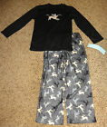 NWT CHEROKEE Boy's Reindeer Black and Grey Long Sleeve Pajama Pant Set Sz S