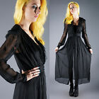 VINTAGE 60s Sheer Black Bombshell Nightgown Robe Peignoir Negligee