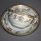 Vintage NIPPON HAND PAINTED China TEA CUP SAUCER SET Porcelain Flowers Gold