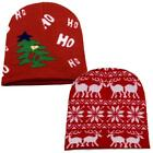 Christmas Knit Beanie Cap Winter Ski Snow Board Toque Xmas Holiday Red/White