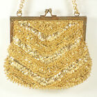 Vintage Gold Beaded Sequins Purse Made in Macau 1940s Hangbag