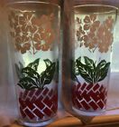 Vintage  Glass Tumbler C/ Dogwood White Flower Design Red Border