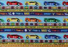 Race Cars Racing Speedway 6 Parallel Stripes Cotton Fabric Print BTY D67256