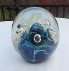 EICKHOLT GLASS PAPERWEIGHT1990 IRIDESCENT BLUE WITH CONTROLLED BUBBLES