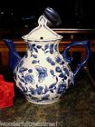 BUTTERFLY Delft Style COBALT BLUE White Tea Coffee Pot WALL POCKET URN Vase NEW!
