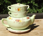 Vintage Stacking Japanese Teapot with Creamer and Sugar Bowl with Lid