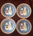Set Lot 4 Sakura SNOWMAN Christmas Salad Dessert Plates Snowmen w Bird Nest