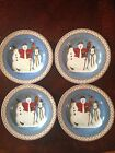 Set Lot 4 Sakura SNOWMAN Christmas Holiday Salad Dessert Plates 3 Snowmen Birds