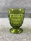 1960's Indiana Juice Glass Whitehall Cubist Pattern Footed Olive Green - 4 3/8