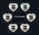 Conchos Lot Of 6 Pc F 9524a Heart Bright Silver Rope Edge Slotted Saddle 2 Sizes