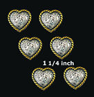 Conchos Lot Of 6 Pcs Western Heart Antique Silver Gold Rope Edge 3 Sizes New