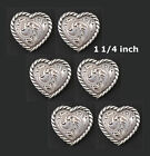 Conchos Lot Of 6 Pcs Western Heart Shape Antique Silver Rope Edge 3 Sizes New