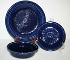 Fiesta 3 piece Setting COBALT BLUE Dinner Plate, Salad Plate, & Cereal Bowl