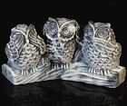 3 Wise Owls Marble Bird Figurine Russian Art Stone Animal Sculpture Statuette