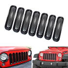 7 Piece Black Front Grille Trim Insert Cover Kit for 2007 2017 Jeep Wrangler JK