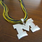 University of MICHIGAN LARGE M PENDANT MULTI CORD NECKLACE Wolverines Jewelry
