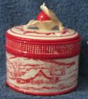 FITZ AND FLOYD TOWN & COUNTRY OVAL LIDDED BOX  19/2443 RED TOILE