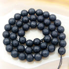 Natural Frosted Matte Black Agate Faceted Round Beads 15.5 4mm 6mm 8mm 12mm