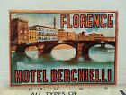 vintage luggage label Hotel Berchielli Florence Italy
