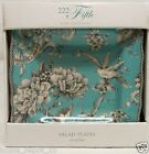 222 FIFTH ADELAIDE TURQUOISE SALAD PLATES SET of 4 NIB Toile Bird French Country
