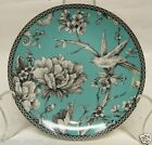 222 FIFTH ADELAIDE TURQUOISE SET OF 4 ROUND APPETIZER PLATES TOILE BIRD NEW!
