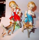 Girl Dogs On Leash - Bisque? China?