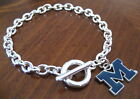 NEW University of MICHIGAN Wolverines SILVER TOGGLE CHARM BRACELET jewelry