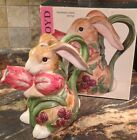 RETIRED FITZ & FLOYD BLACKBERRY RABBIT PITCHER BUNNY TULIPS ORIGINAL BOX