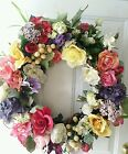 20 inch Floral Spring Summer Grapevine Door Wreath Roses shabby country cottage