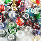 WHOLESALE FACETED LOTS CRYSTAL GLASS EUROPEAN LARGE HOLE CHARM BEAD FIT BRACELET