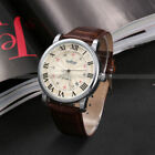 WINNER Men's Analog Automatic Mechanical Roman Date Brown Leather Wrist Watch