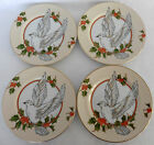 SET 4 Fitz & Floyd CHRISTMAS HOLLY DOVE Dessert Plates 183