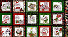 Loralie Fabric Christmas Winter Holiday Cats kitty panel cotton quilt sew