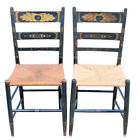 Antique Pair Hitchcock C1900 Ladder Back Side Chairs Rush Seats Gold Stencil