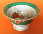 Noritake Small Pedestal Bowl/Compote, Hand Painted, Green With Gold Moriage