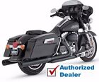 Vance  Hines Black Blackout Rounds Slip On Mufflers Exhaust Harley Touring FLHT