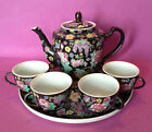 4 Handled Chinese Tea Cups, Hand Painted Bright Flowers On Black