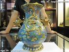 Chinese Royal 100% Pure Bronze handwork made cloisonne 24K Gold Gild Dragon Vase