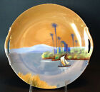 Noritake Lustre Plate With Handles, Sailboat And Palm Trees, Japan