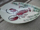Vintage Antique Maine Seafood  LOBSTER Serving Bowl unique curved bowl 11-3/4