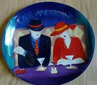 Sango Cafe Americana 4911 oval Dinner Plate Red Blue Black Hollywood Glamour