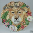 FITZ FLOYD POTTERY SERENGETI CLASSICS LION & FLOWERS DECORATIVE PLATE