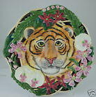 FITZ FLOYD POTTERY SERENGETI CLASSICS TIGER & FLOWERS DECORATIVE PLATE