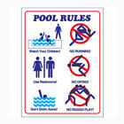 Commercial Plastic Safety Sign Swimming Pool Rules in Pictures Text 18X24