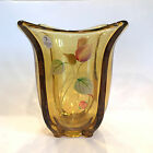 FENTON Autumn Gold Flip Hand Painted Vase MKibbe 8155CW Berry