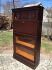 Antique Globe Wernicke 4 Stack Oak  Barrister Bookcase with RARE Desk section