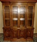 DREXEL HERITAGE CHINA CABINET Lighted Neo Classical Breakfront Hutch VINTAGE