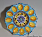 Deruta Pottery Hand Painted Egg Plate Italy Blue Gold Yellow